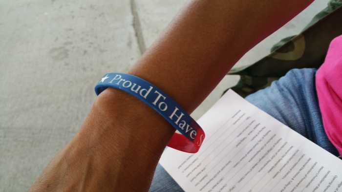 They were handing out these bracelets before the ceremony. I brought mine home to give to my kids. #NeverForget