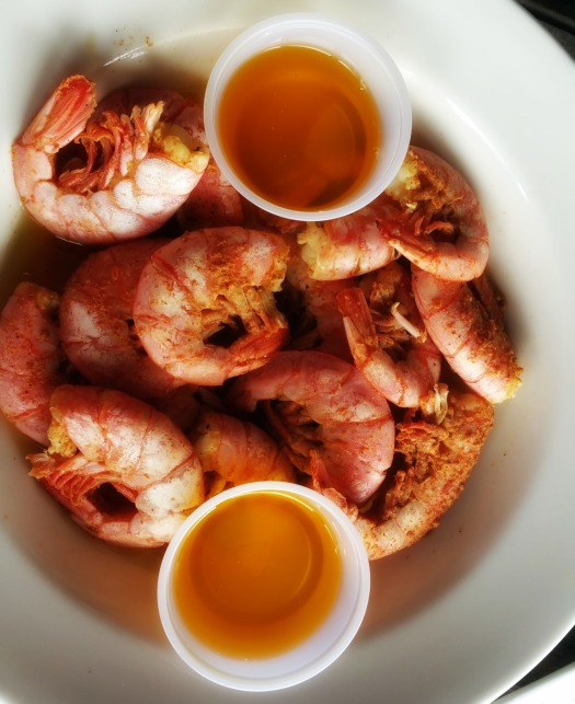 They called these Ruby Reds - fresh peel and et shrimp, doused in butter, served with butter on the side.